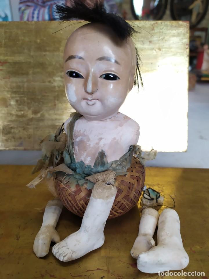 Muñecas Porcelana: Dos muñecos japoneses posiblemente del siglo XIX cabeza de pasta gofun orientales Japón - Foto 7 - 184570685