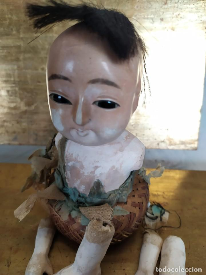Muñecas Porcelana: Dos muñecos japoneses posiblemente del siglo XIX cabeza de pasta gofun orientales Japón - Foto 8 - 184570685