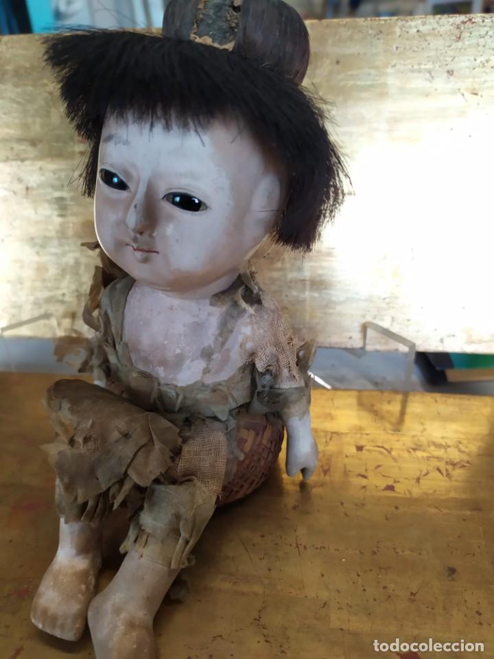 Muñecas Porcelana: Dos muñecos japoneses posiblemente del siglo XIX cabeza de pasta gofun orientales Japón - Foto 10 - 184570685