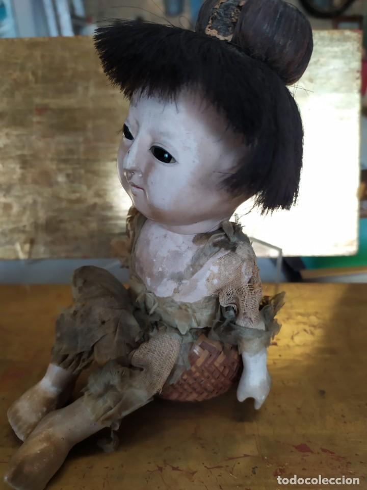 Muñecas Porcelana: Dos muñecos japoneses posiblemente del siglo XIX cabeza de pasta gofun orientales Japón - Foto 12 - 184570685