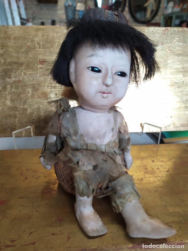Muñecas Porcelana: Dos muñecos japoneses posiblemente del siglo XIX cabeza de pasta gofun orientales Japón - Foto 15 - 184570685