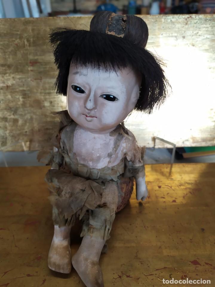 Muñecas Porcelana: Dos muñecos japoneses posiblemente del siglo XIX cabeza de pasta gofun orientales Japón - Foto 17 - 184570685