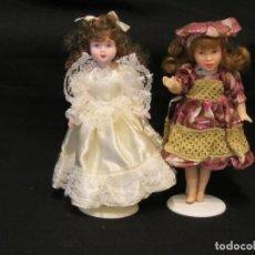 Muñecas Porcelana: 2 MUÑECAS DE PORCELANA. 22CM.. Lote 186256798