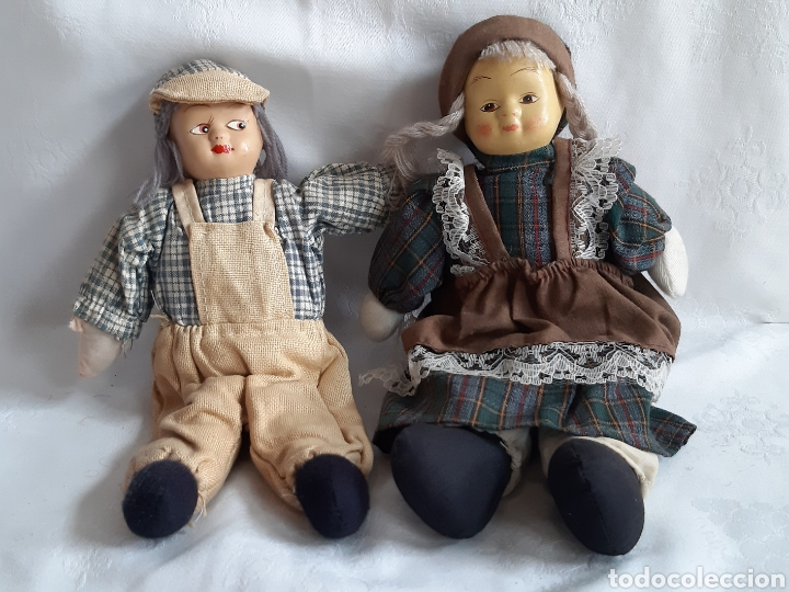 ANTIGUOS MUÑECOS DE TRAPO Y PORCELANA (Juguetes - Muñeca Extranjera Moderna - Porcelana)