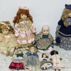 Muñecas Porcelana: COLECION ANTIGUAS MUÑECAS DE PORCELANA MUCHAS CON OJOS DE CRISTAL. Lote 197365427