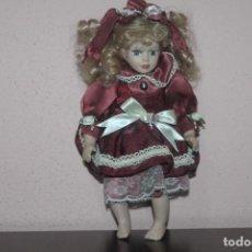 Muñecas Porcelana: MUÑECA DE PORCELANA CON LOS OJOS DE CRISTAL DE COLOR GRISES Y LAS PESTAÑAS NO SON PINTADAS. Lote 203823443