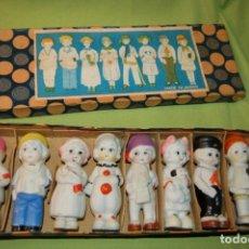 Muñecas Porcelana: CAJA DE MUÑEQUITAS DE PORCELANA ANTIGUAS JAPAN. Lote 204338472