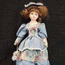 Muñecas Porcelana: MUÑECA DE PORCELANA CON VESTIDO AZUL. C13. Lote 205510288