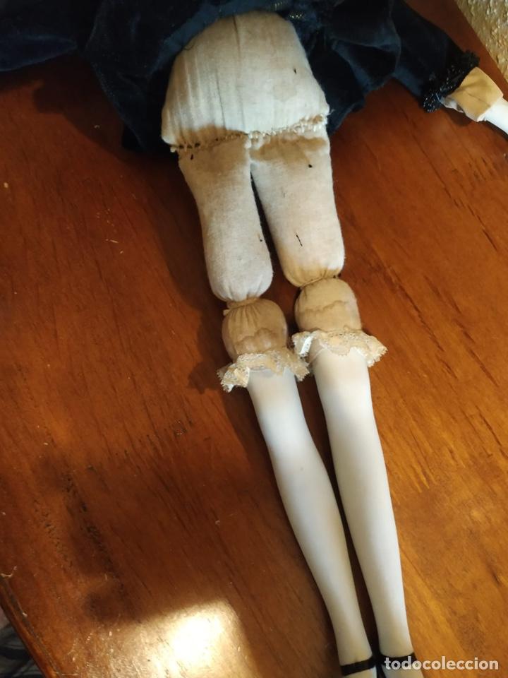 Muñecas Porcelana: Muñeca boudoir de trapo francesa biscuit seda y terciopelo años 20 boadir - Foto 7 - 206131297