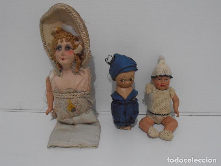 Muñecas Porcelana: LOTE DE 3 MUÑECAS, TELA, PORCELANA Y COMPOSICION, CON TARAS - Foto 7 - 206159865