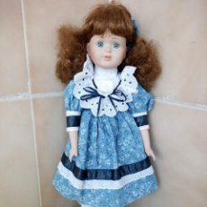 Muñecas Porcelana: MUÑECA PORCELANA CON VESTIDO COLOR AZUL NOSTALGIA MINT MOONFLOWER 1995 DOLLS COLLECTION. Lote 206435273