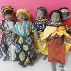 Muñecas Porcelana: LOTE DE 6 MUÑECAS NEGRAS. MULATAS DE PORCELANA O CERAMICA. 21 CENTIMETROS DE ALTAS. Lote 208676756