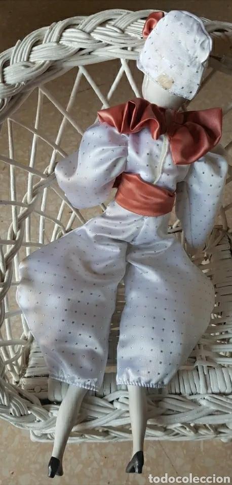 Muñecas Porcelana: Muñeca muñeco arlequín con cabeza, brazos y piernas de porcelana y cuerpo de trapo 42 cm. - Foto 3 - 210818475