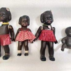 Muñecas Porcelana: 4 MUÑECAS DE CERAMICA. NEGRITAS Y NEGRITO. MARCA FV. 13-7CM. Lote 212060238