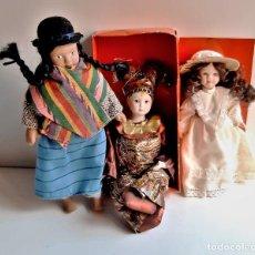 Bambole Porcellana: TRES MUÑECAS PORCELANA VARIAS PEQUEÑAS - 18 A 21.CM ALTO. Lote 216721597