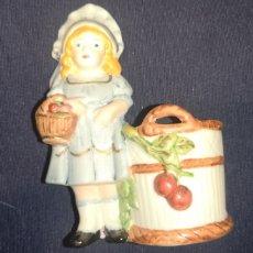 Muñecas Porcelana: PEQUEÑO VIOLETERO EN FORMA DE MUÑECA DE PORCELANA. Lote 234383325