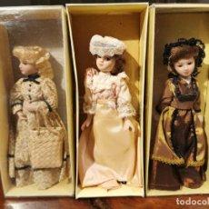 Muñecas Porcelana: TRES MUÑECAS DE PORCELANA DE 19 CM DE ALTURA. Lote 236801600