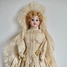 Muñecas Porcelana: MUÑECA CABEZA DE PORCELANA CUERPO DE PIEN, VESTIDO ORIGINAL DE NOVIA- 39 CM. Lote 254933920