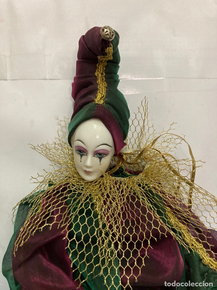 Muñecas Porcelana: Arlequin de porcelana Veneciano, pintado a mano, largo 45 cm , años 50 - Foto 3 - 261123035