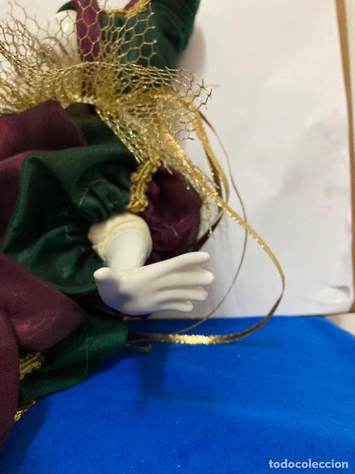 Muñecas Porcelana: Arlequin de porcelana Veneciano, pintado a mano, largo 45 cm , años 50 - Foto 9 - 261123035