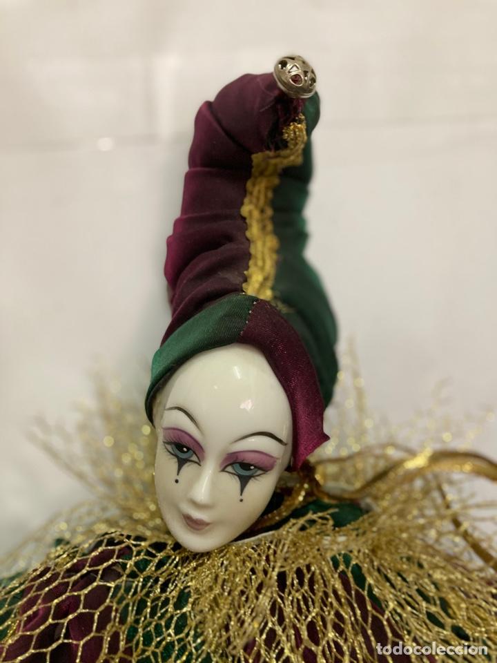 Muñecas Porcelana: Arlequin de porcelana Veneciano, pintado a mano, largo 45 cm , años 50 - Foto 11 - 261123035
