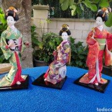 Muñecas Porcelana: LOTE DE 3 MUÑECAS JAPONESAS GEISHA. Lote 268910489