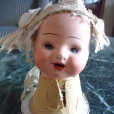 Muñecas Porcelana: PEQUEÑA Y SIMPÁTICA CABEZA DE MUÑECA/O BEBÉ PORCELANA OJOS DURMIENTES. Lote 285648343