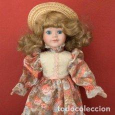 Muñecas Porcelana: MUÑECA DE PORCELANA CON SOMBRERO DE PAJA. Lote 287064933