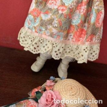 Muñecas Porcelana: Muñeca de porcelana con sombrero de paja - Foto 10 - 287064933
