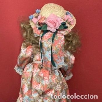 Muñecas Porcelana: Muñeca de porcelana con sombrero de paja - Foto 12 - 287064933