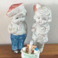 Muñecas Porcelana: MUÑECAS JAPONESAS EN BISCUIT PAREJA. Lote 293350688