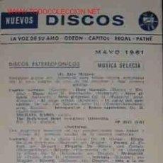 Catálogos de Música: CATALOGO NUEVOS DISCOS: LA VOZ DE SU AMO; ODEON; CAPITOL; REGAL; PATHE. MAYO 1961. Lote 22414133