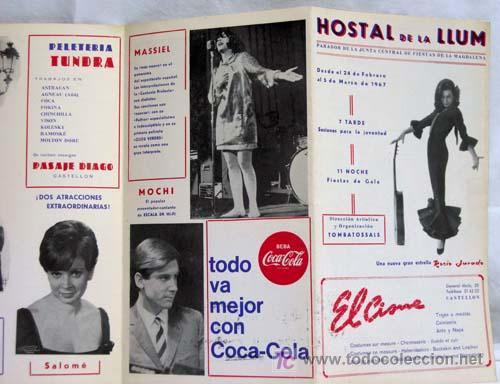 PROGRAMA HOSTAL LA LLUM CASTELLÓN FIESTAS MAGDALENA ROCÍO JURADO RAPHAEL LUCERO TENA SALOMÉ 1967 (Música - Catálogos de Música, Libros y Cancioneros)
