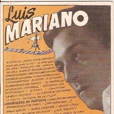 Catálogos de Música: LUIS MARIANO CANCIONERO DE EDICIONES BISTAGNE . Lote 6053817