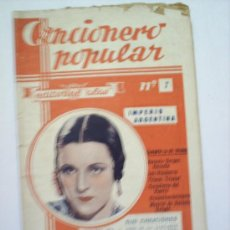 Catálogos de Música: CANCIONERO POPULAR IMPERIO ARGENTINA N. 7. Lote 17790255
