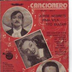 Catálogos de Música: JORGE NEGRETE - IRMA VILA - TITO GUIZAR - CANCIONERO Nº 63. Lote 27430361