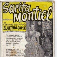 Catálogos de Música: SARITA MONTIEL - CANCIONES DE LA PELICULA EL ULTIMO CUPLE. Lote 27507601