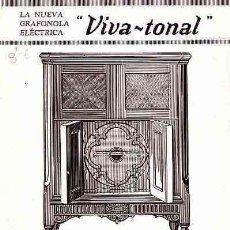 Catálogos de Música: FOLLETO PUBLICITARIO DE RADIOS Y DISCOS GRAFONOLA VIVA-TONAL MODELO 920. Lote 11176086