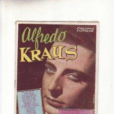 Catálogos de Música: ALFREDO KRAUS.SUS GRANDES EXITOS.EDITORIAL BISTAGNE.CANCIONERO . Lote 19262373