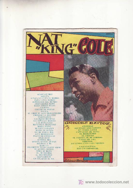 NAT KING COLE.CANCIONERO .MAS COLECCIONISMO EN RASTRILLOPORTOBELLO (Música - Catálogos de Música, Libros y Cancioneros)