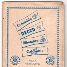 Catálogos de Música: CATALOGO GENERAL DE DISCOS MICROSURCO. 45 R. P.M. COLUMBIA, DECCA, ALHAMBRA. AÑO 1955.. Lote 21404011