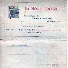 Catálogos de Música: CATALAGO TRIPTICO PIANOS DE MANUBRIO - LA MUSICA POPULAR -BARCELONA . Lote 19600747