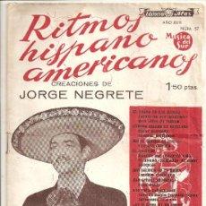 Catálogos de Música: JORGE NEGRETE: CANCIONERO. Lote 24355505