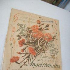 Catálogos de Música: ROSAS Y CLAVELES, RIGODONES PARA PIANO, POR: ANGEL PEÑALBA TALLEZ.- REG. 1838?. Lote 24292514