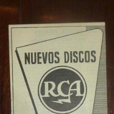 Catálogos de Música: CATALOGO NUEVOS DISCOS RCA SELECCIONES DE ABRIL 1957. Lote 24565483