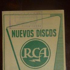 Catálogos de Música: CATALOGO NUEVOS DISCOS RCA SELECCIONES DE JUNIO 1957. Lote 24565539