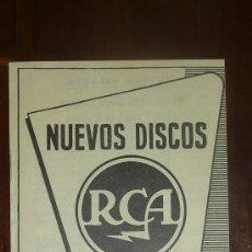 Catálogos de Música: CATALOGO NUEVOS DISCOS RCA SELECCIONES DE ABRIL 1957. Lote 24565607