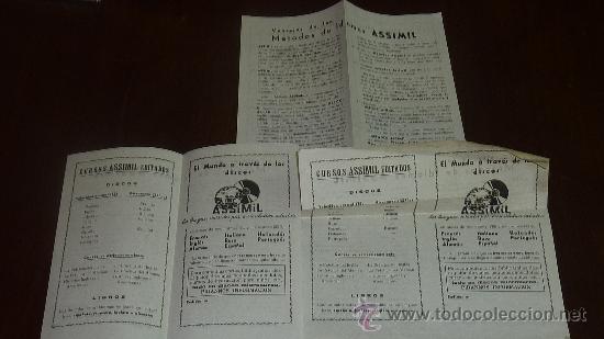 FOLLETOS DE CURSO ASSIMIL EDITADOS. IDIOMAS A TRAVES DE LOS DISCOS (Música - Catálogos de Música, Libros y Cancioneros)