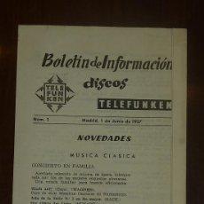 Catálogos de Música: BOLETIN DE INFORMACION DE DISCOS TELEFUNKEN. NUM 1. JUNIO DE 1957.. Lote 24565901