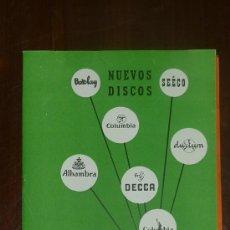 Catálogos de Música: CATALOGO NUEVOS DISCOS. VARIADOS. SUPLEMENTO Nº6 ABRIL 1957.. Lote 24566069